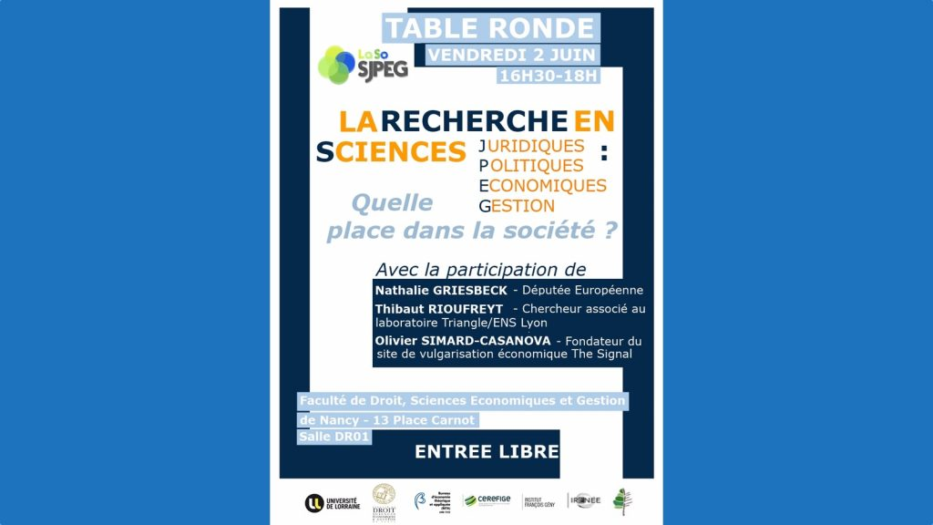 [Agenda] Quelle place dans la société pour la recherche en science économique ?